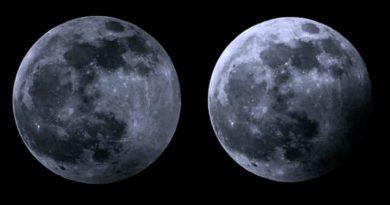 Eclipse partielle de Lune à Flottemanville-Hague (Manche)