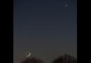 Vénus et la Lune : un ballet crépusculaire